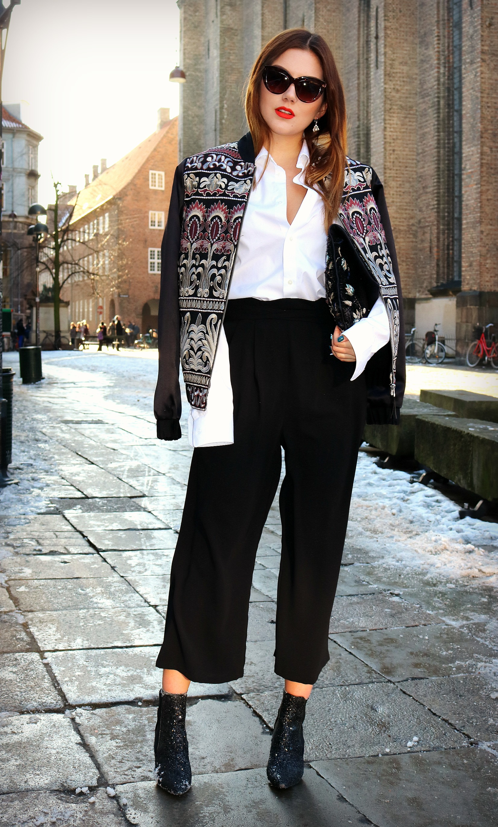 Embroidered bomber and culottes